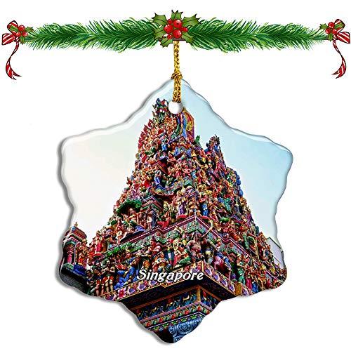 Fcheng Singapore Little India Christmas Ceramic Ornament Tree Decor City Travel Souvenir Double Sided Snowflake Sublimation Porcelain Hanging Ornament (Christmas Singapore Tree)