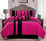Inexpensive King Size Comforter Sets Empire Home Pink & Black Cross 7 Piece Solid Suede Soft Comforter Set (King Size)