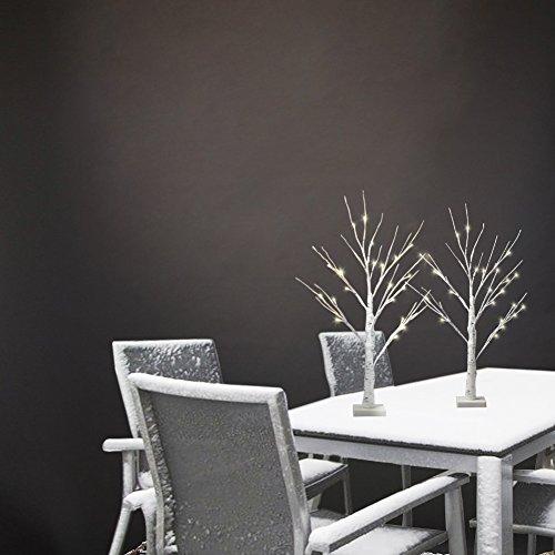 2' Birch (Vanthylit 2FT 24LT Pre-lit White Birch Tree Decorative Light Tabletop-2PK)