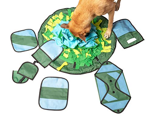 Dog and Cat Toy Games- Puppy Puzzle Toys-Durable Treat Feeder-Tough Small Squeaky Ball and Bones-Pet with Boredom-Snuffle Mat Puzzles for Dogs-Alpha IQ