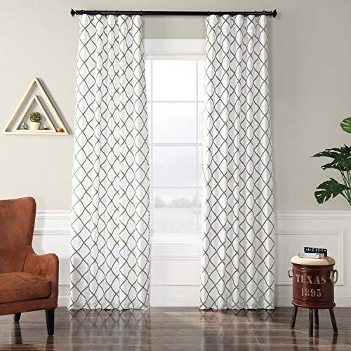 PTFFLK-C22C-96 Flocked Faux Silk Curtain, 50 x 96, Jade For Sale