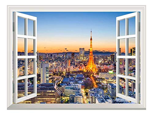 Removable Wall Sticker Wall Mural Tokyo Japan Skyline at Tokyo Tower Creative Window View Wall Decor