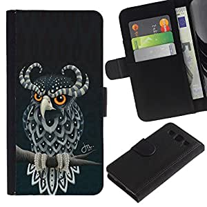 LECELL--Cuero de la tarjeta la carpeta del tirón Smartphone Slots Protección Holder For Samsung Galaxy S3 III I9300 -- Linda del búho de cuernos --