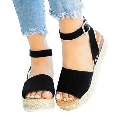 4e3c0bcad4 Amazon.com | Ymost Womens Wedges Sandal Open Toe Ankle Strap Trendy  Espadrille Platform Sandals Flats | Sandals