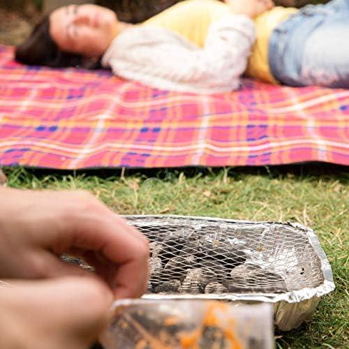 Relaxdays, argenté Barbecue Jetable rapide, 2 Supports. + 500g Charbon de Bois, BBQ Minute, Longue Combustion, 1 pièce