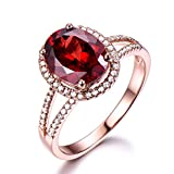 Red Garnet Engagement Ring Oval 925 Sterling Silver Rose Gold CZ Diamond Halo Split Shank Wedding Ring