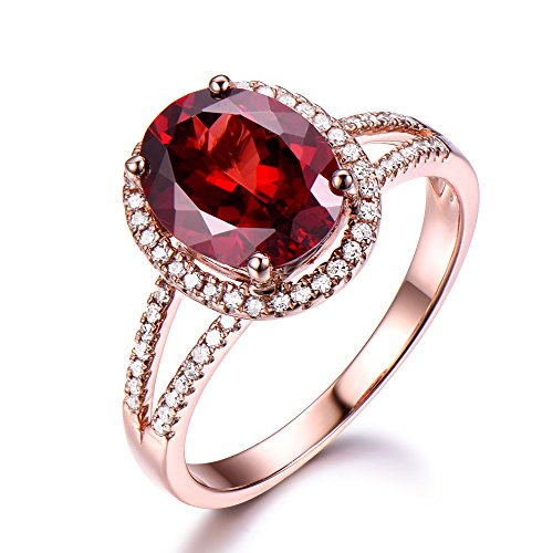 Red Garnet Engagement Ring Oval 925 Sterling Silver Rose Gold CZ Diamond Halo Split Shank Wedding Ring by Milejewel Garnet engagement rings