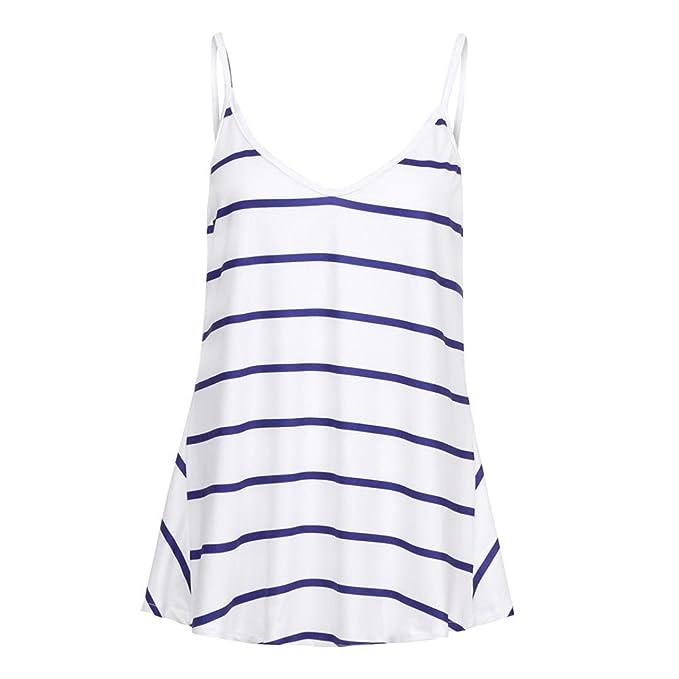 Mujeres Tops Rovinci Verano Cuello en O Rayas sin Mangas Casual Tank Blusa Tops Camiseta Tops