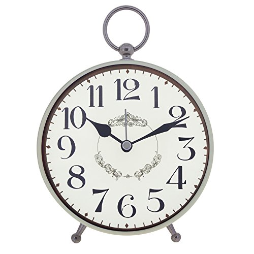 Konigswerk Vintage Retro Old Fashioned Decorative Quiet Non-ticking, Quartz Analog Large Numerals Desk Clock, Battery Operated, Loud Alarm (AC124G)
