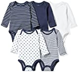 Moon and Back Baby Set of 5 Organic Long-Sleeve Bodysuits, Navy Sea, 6-9 Months