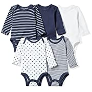 Moon and Back Baby Set of 5 Organic Long-Sleeve Bodysuits, Navy Sea, 0-3 Months