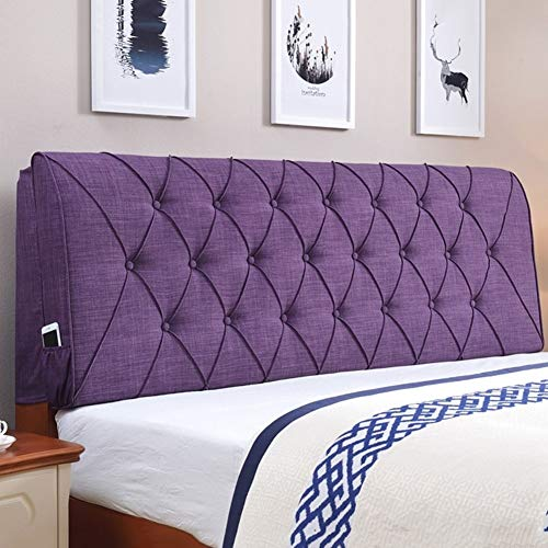 JAZC Bed Cushion Backrest Support Pillow Cotton Linen Breathability for Single Double Bed, 4 Colors, 6 Sizes Optional Bed Backrest Cushion for Headboard (Color : Purple, Size : 120 x 10 x 60cm)
