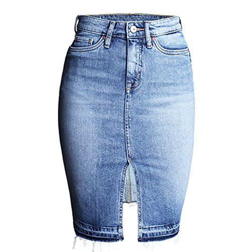 Stretch Denim Pencil Skirt - Felove Women's Denim Pencil Skirt