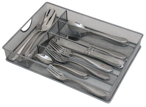 Yesker Mesh Small Cutlery Tray with Foam Feet - Kichen Organization/Silverware Storage by Storage Techngologies by Yesker