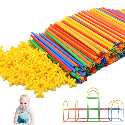 500Pcs Educational Straw Building Blocks for Boys&Girls|Safe and Fun Straws and Connectors Set|Colorful Construction Builders for Motor Skills Development|4D Space Straw Splicing and Inserting -
