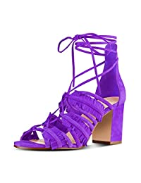 YDN Womens Suede Low Heel Fringes Sandals Chunky Peep Toe Lace-up Bridal Tassels Shoes
