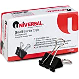 """Universal Small Binder Clips, Steel Wire, 3/8"""" Capacity, 3/4"""" Wide, Black/Silver, 12/Pack,  2 Packs"""
