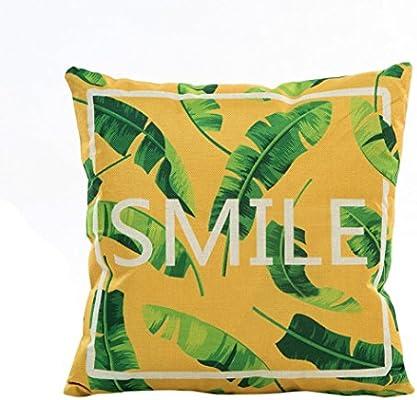 Funda de Almohada, ❤️ Manadlian ❤️ Cojín Tropical Verde Hojas de Planta Manta Funda de Almohada para sofá Coche decoración para el hogar (F)