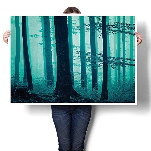 """Oil Painting on Canvas Prints Deep in Mist Forest Foliage Night Dreamy Hazy Effects iry Scary Horror Ccept Wall Art,36""""W x 20""""L(Frameless)"""