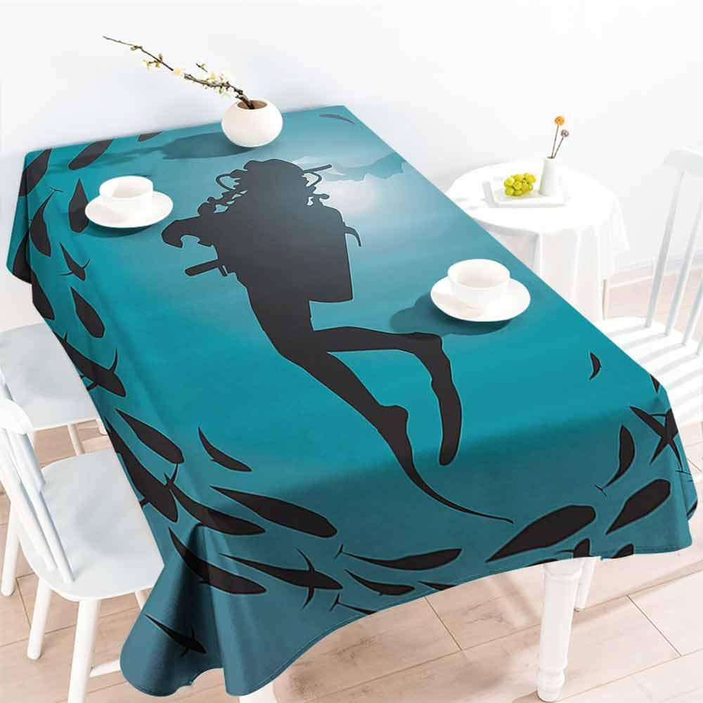 VICWOWONE Outdoor Long Tablecloth Under The Sea Suitable for Cafeteria Diver Surrounded with Jamb of Fishes Scuba Snorkel Aqualung Water Sports W60 x L70 Dark Blue Aqua by VICWOWONE
