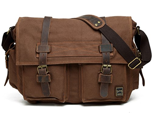 "Berchirly Men Vintage Military Canvas Messenger Bag for 17.3"" Laptop"