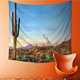 Polyester Fabric Wall Decor Sun Goes Down in Desert Prickly pear Southwest Wall Hanging Bedroom Living Room Dorm Home Decor Tapestry32W x 32L Inch