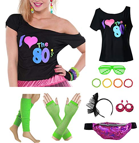 Women Plus Size I Love The 80's T-Shirt with Fanny Pack Bag Fancy Costume Outfit Accessory (3XL/4XL, Green)]()