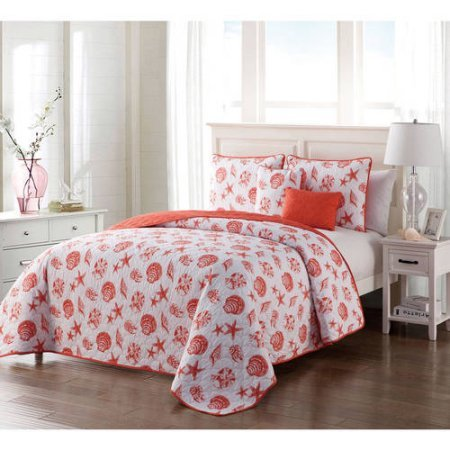 Coastal-Inspired Seashell 4/5 Piece Marco Inspired Reversible Bedding Quilt Set, Twin / Twin XL, Coral, Decorative Pillows Included Marco Comforter Set