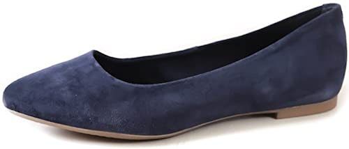 MARCO TOZZI Emma Soft Navy Blue Suede Leather Almond Toe Flat Ballet Pumps Ballerina Shoes Ladies