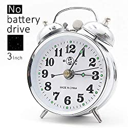 Besplore Double Bell Mechanical Wind Alarm Clock,Silver