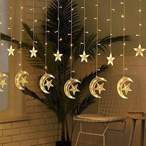 Mondstern Lampe LED Lampe String Weihnachtsbeleuchtung Dekoration Weihnachtsbeleuchtung Vorhang Lampe Hochzeit Neon Laterne EU/USB Lichterkette-USB_Plug_Warm_white