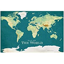 ProMaps Map of the World Vintage Style Blue Art Print Poster 12x18