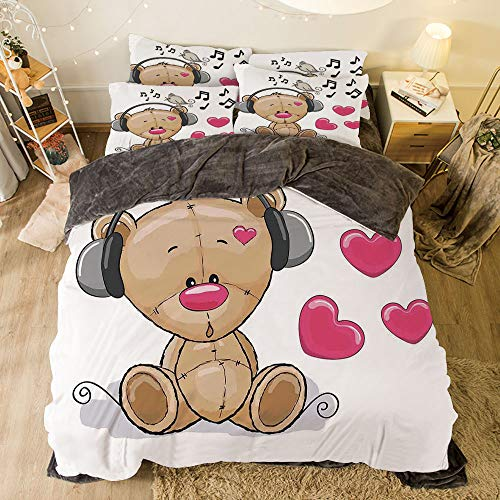 - Flannel 4 Pieces on The Bed Duvet Cover Set for Bed Width 6.6ft Pattern by,Music Decor,Cute Cartoon Teddy Bear with Headphones Twitting Singing Bird Heart Shapes,