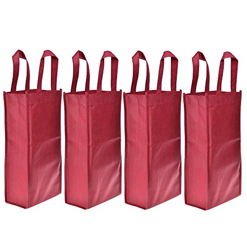 Cosmos ® 4 Pack Non-Woven 2-Bottle Wine Tote Bag Holder, Reusable Gift Bag - Dark Red ()