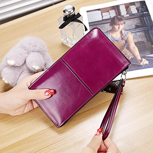 Oil Decoy (JD Million shop 2017 Women famous brand Oil wax leather zipper clutch wallet female candy color burglar robbed purse lady Multi-function phone bag (Purple))