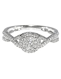 0.3cttw Bridal Engagement Ring Promise Gift Ring Split Shoulder 10K White Gold(0.3cttw)