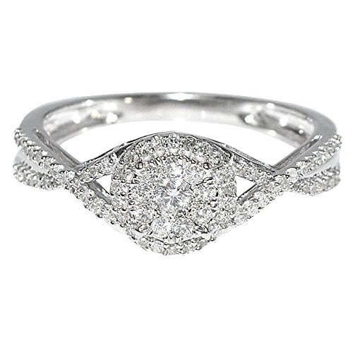 Twisted Diamond Wedding Ring (1/3cttw Diamond Engagement Ring Woven Twisted Halo Split Shoulder 10K White Gold )