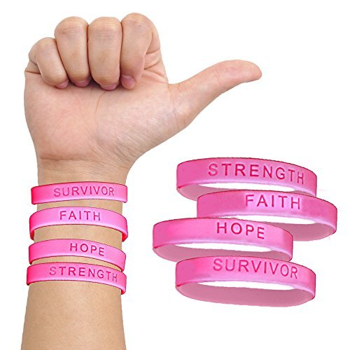 144 Pack Inspirational Breast Cancer Awareness Pink Wristband with Motivational Messages of Faith, Hope, Strength, and Survive. Be Strong Quote Bracelets. Stay Motivated - Breast Wristband Cancer