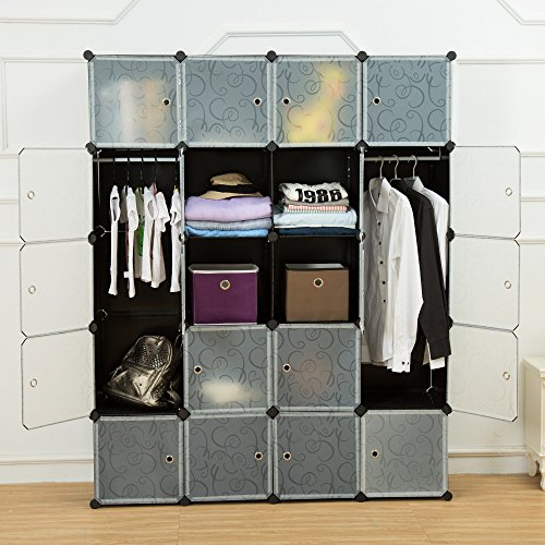 unicoo-multi-use-diy-plastic-20-cube-organizer-bookcase-storage-cabinet-wardrobe-closet-black-with-w
