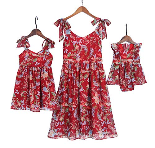 - Mumetaz Mommy and Me Dresses Sweet Floral Print Bowknot Halter Shoulder-Straps Chiffon Dress Red
