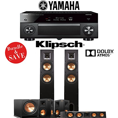 Klipsch R-26FA 5.1-Ch Reference Dolby Atmos Home Theater Speaker System with Yamaha AVENTAGE RX-A3070BL 11.2-Channel Network A/V Receiver by Klipsch