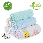 PB PEGGYBUY Baby Washcloths, Soft Newborn Baby Face Towels, Multi-Purpose Natural Baby Wipes (6 Pack)