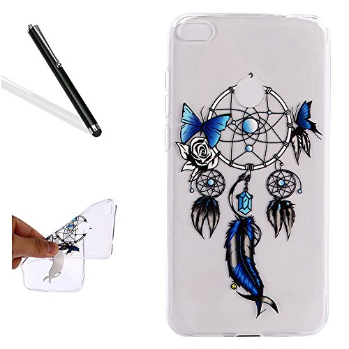 Case for Huawei P10 Lite,Clear Case for Huawei P10 Lite,Leecase Creative Transparent Blue Butterfly Feather Dreamcatcher Flexible Ultra Thin Silicone Protective Case Cover for Huawei P10 Lite ()