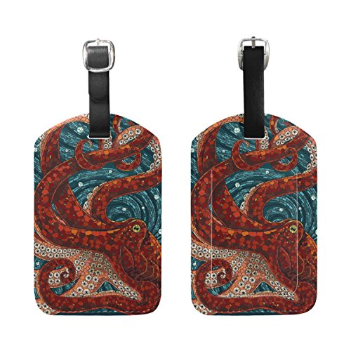 Animal Octopus Leather Cruise Travel Luggage Tags Card Bag ID Label(2 Pcs)