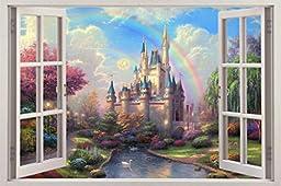 Fantasy Princess Castle 3D Window View Decal WALL STICKER Decor Art Mural H68, Huge