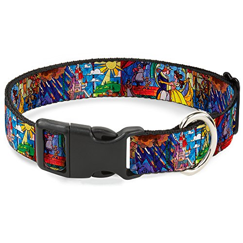 Buckle-Down Plastic Clip Collar - Beauty & the Beast Stained Glass Scenes - 1