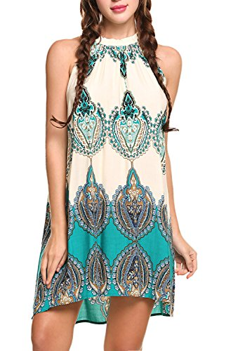BLUETIME Women's Casual Sleeveless Halter Neck Boho Print Short Dress...