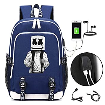 Mochila Marshmello Impresa en 3D Mochilas Escolares, Mochila para portátil DJ Marshmello School Mochila Unisex, con Puerto de Carga USB (A): Amazon.es: ...