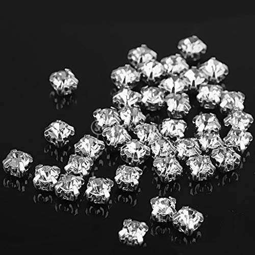 Sew On Rhinestone - 40pcs Loose Faceted Sew On Rhinestone 4mm - Butts Gems For Chain Red Patch Clothes Applique Stars Round ()
