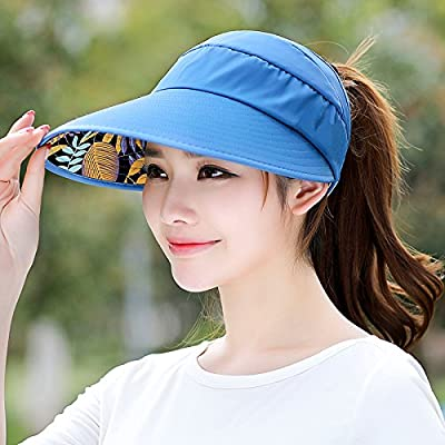 Femme loisirs été hat tous-match UV marée pare-soleil escamotable,cap,réglable plaque bleu - Trésor